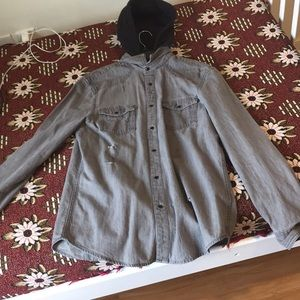 Amazing Gray Denim jacket with black hood